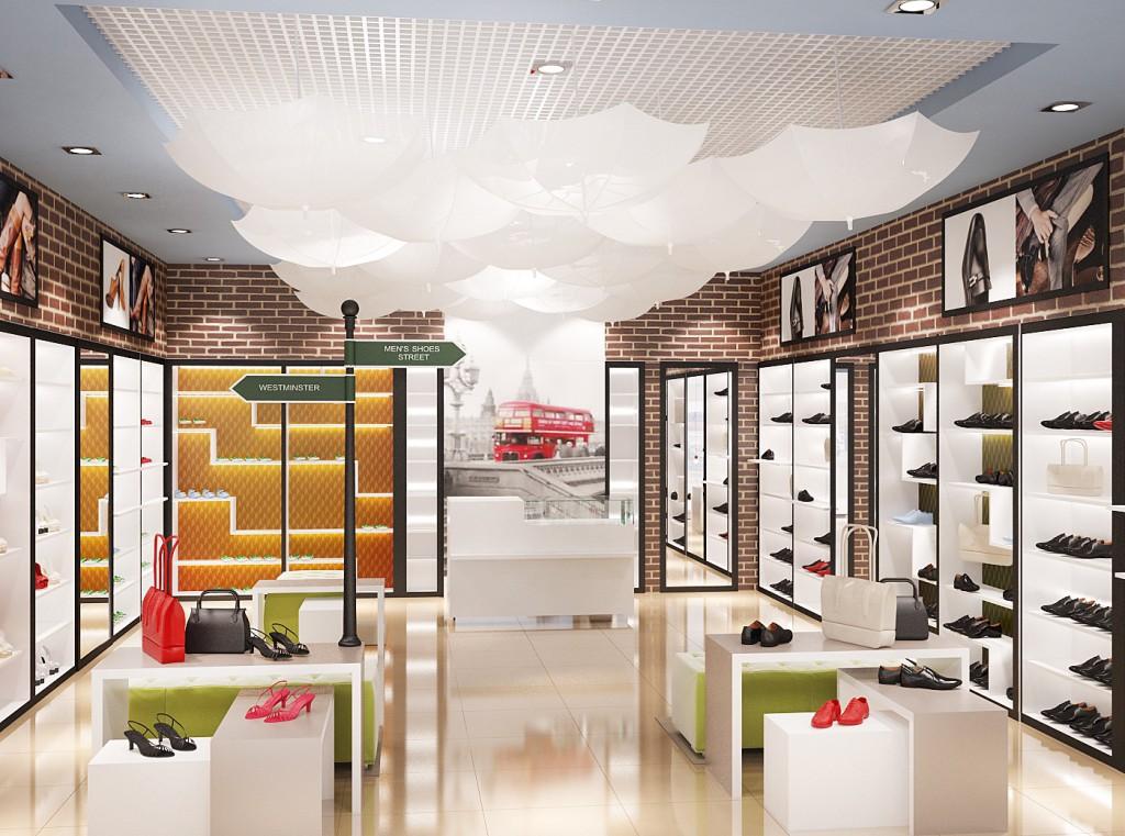 Дизайн интерьера магазина обуви «Clarks» (торгово-выставочный зал)