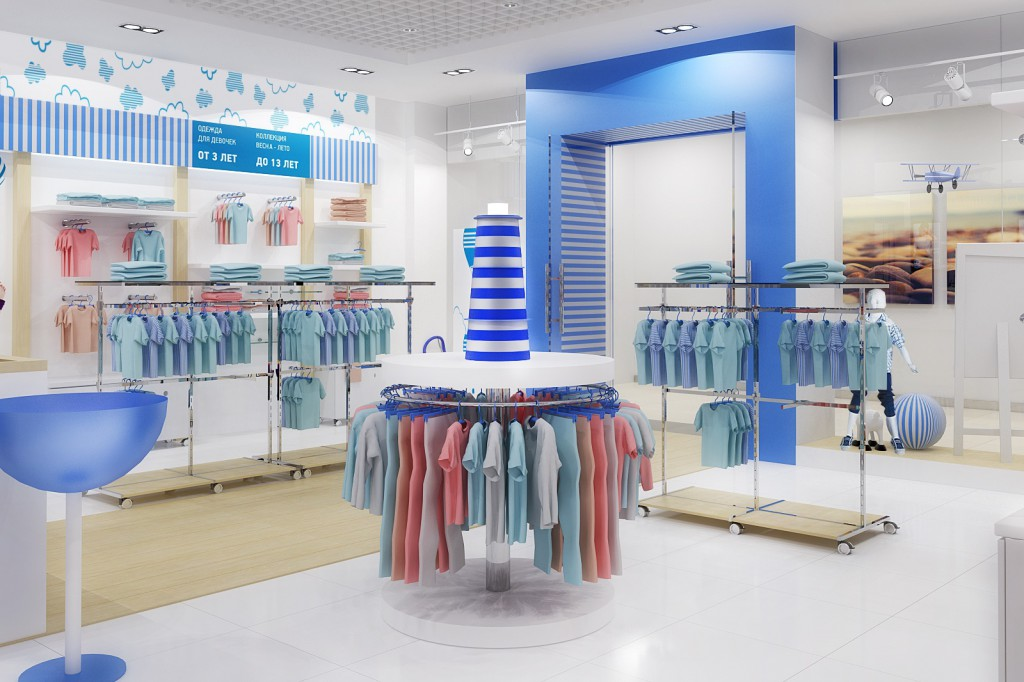 Дизайн интерьера магазина детской одежды (торгово-выставочный зал)