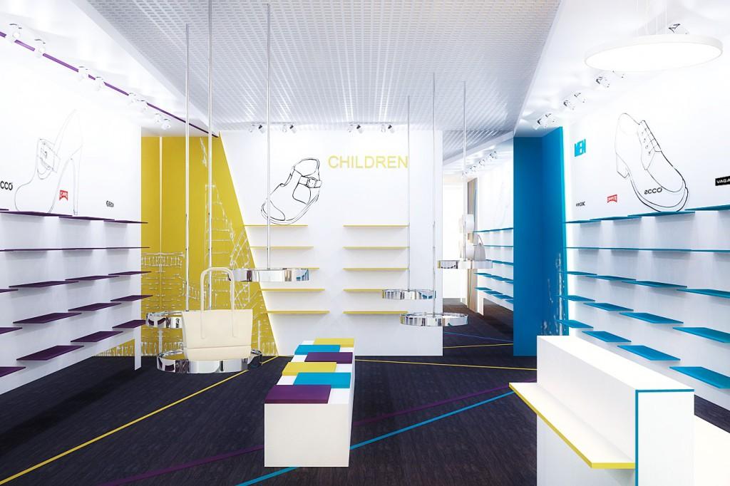 Дизайн интерьера магазина обуви (торгово-выставочный зал)