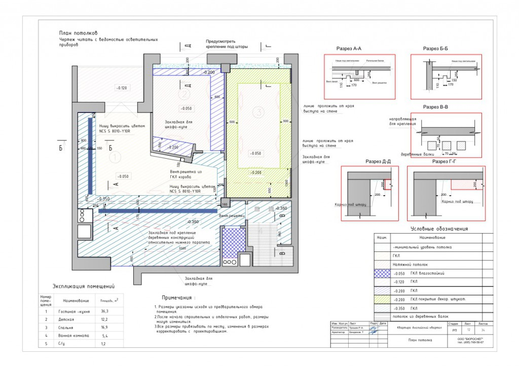 Дизайн-проект интерьера квартиры (план потолков)