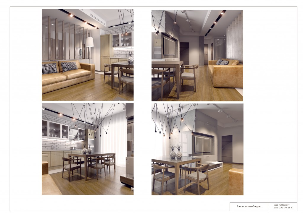 Дизайн-проект интерьера квартиры (эскизы гостиной-кухни)