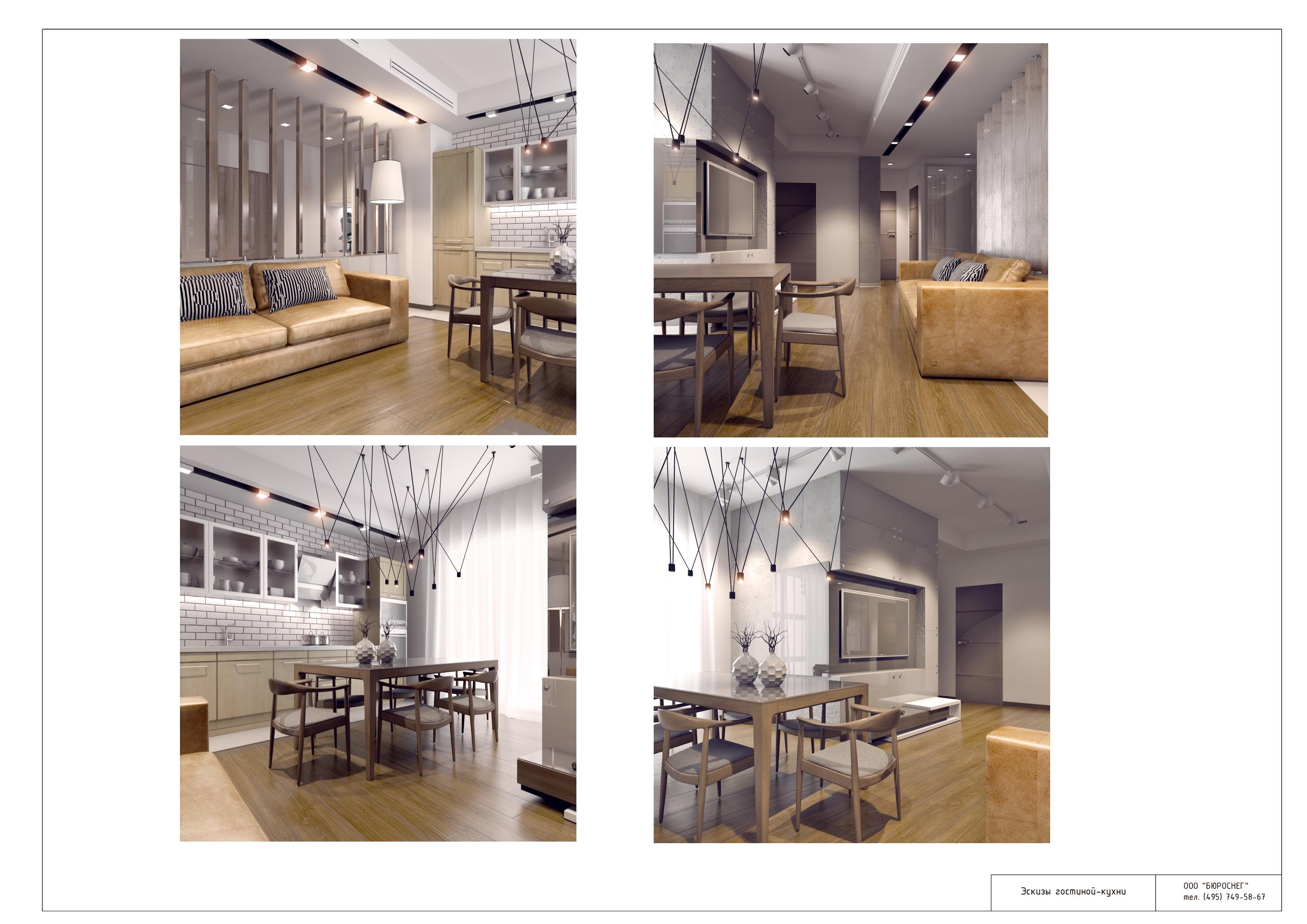 Дизайн-проект интерьера квартиры (эскизы кухни-гостиной)