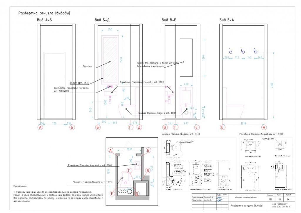 Дизайн-проект интерьера квартиры (развёртка санузла - выводы)