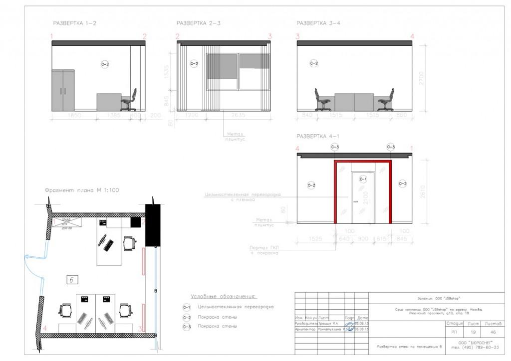Дизайн-проект офиса (развёртка стен по помещению №6)