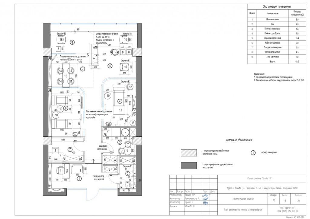 Дизайн-проект салона красоты (план расстановки мебели и оборудования)