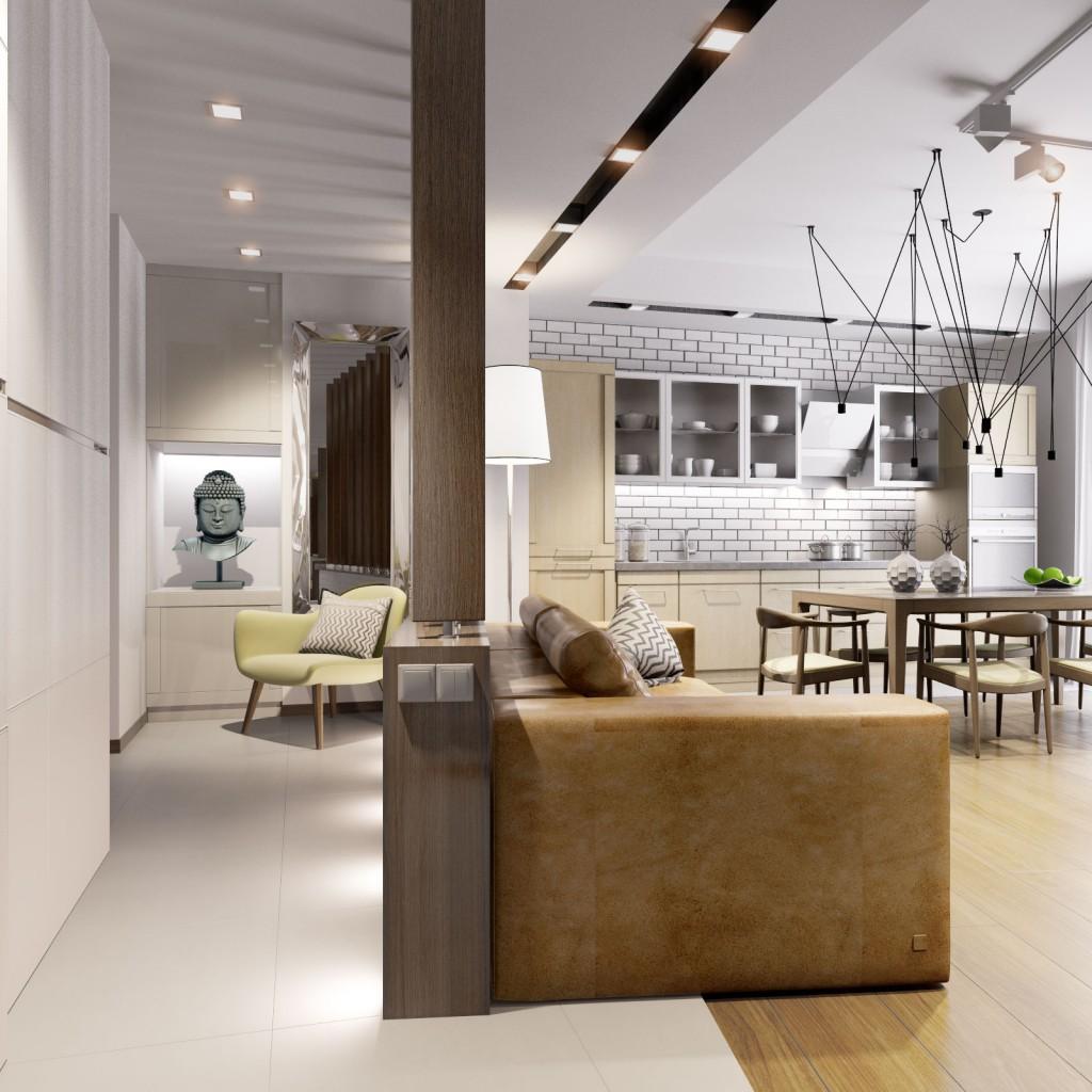 Дизайн квартиры (кухня-гостиная)