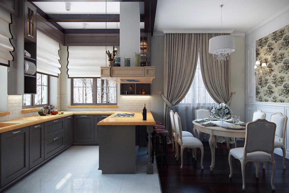 Интерьер загородного дома (коттеджа) - кухня-столовая