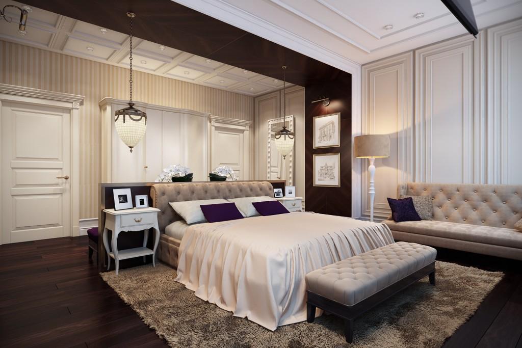 Дизайн интерьера коттеджа (спальня)