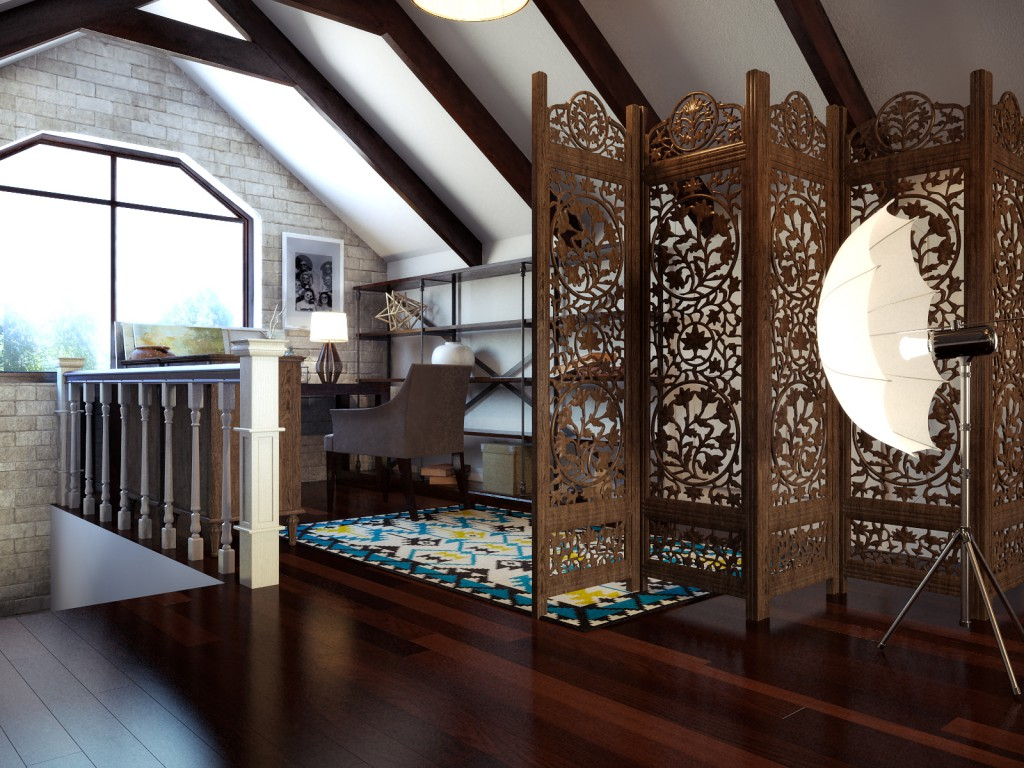 Дизайн интерьера коттеджа (мансарда)