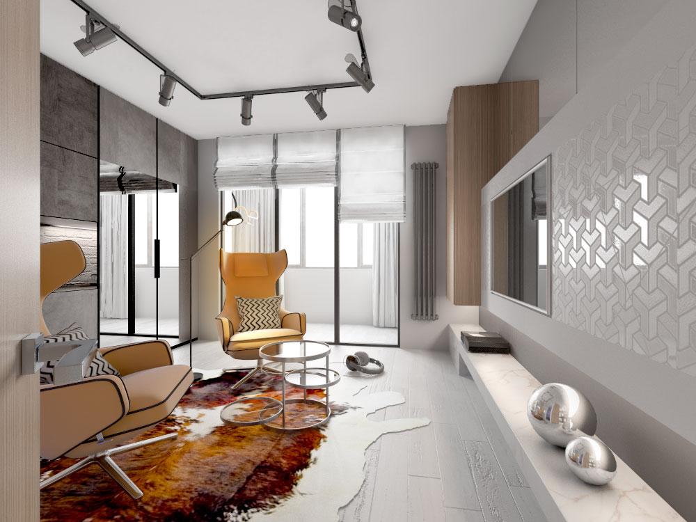 Дизайн интерьера однокомнатной квартиры в Лефортово