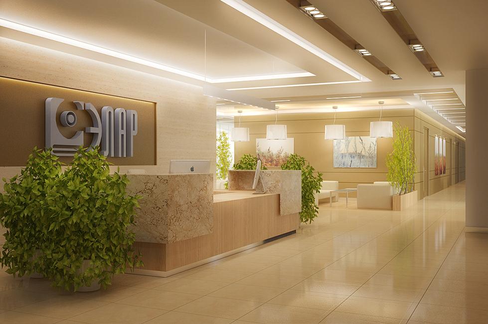 Дизайн интерьера офиса (зона ресепшн)