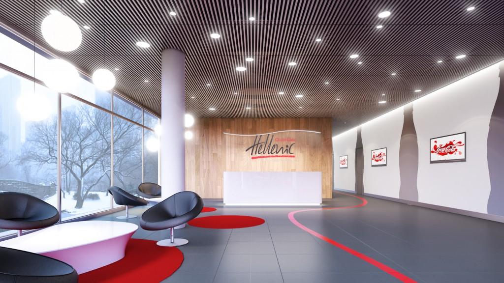 Дизайн интерьера офиса компании «Coca-cola Hellenic» (входная группа)