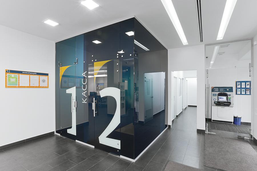 интерьер офиса банка