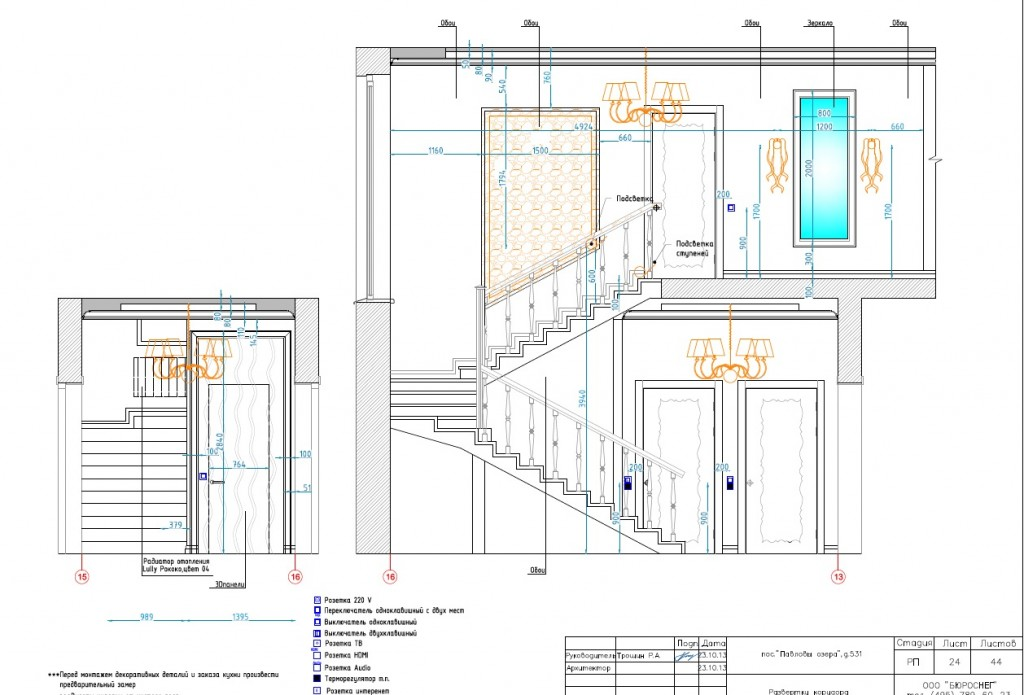 Дизайн-проект загородного дома (развёртка коридора)
