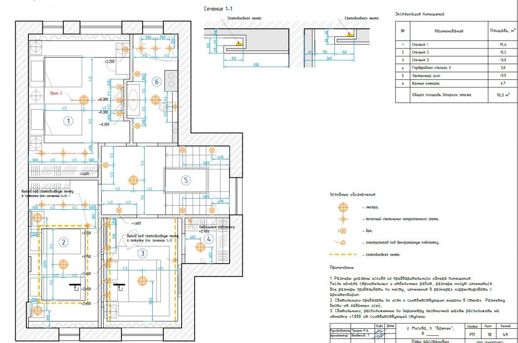 Дизайн-проект загородного дома (план расположения осветительных приборов)
