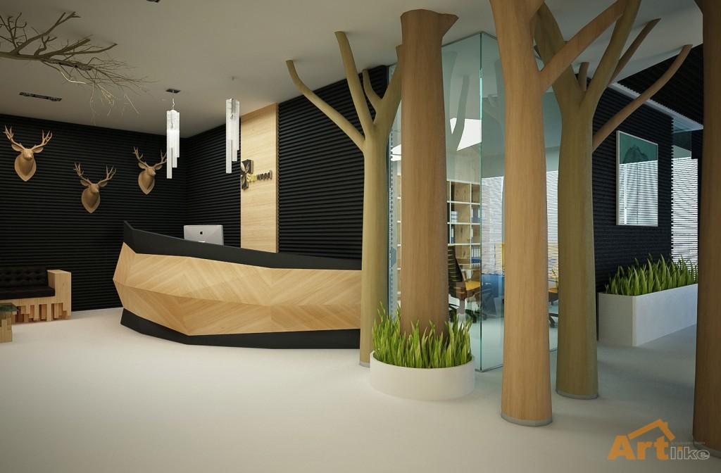 отделка офисов деревом