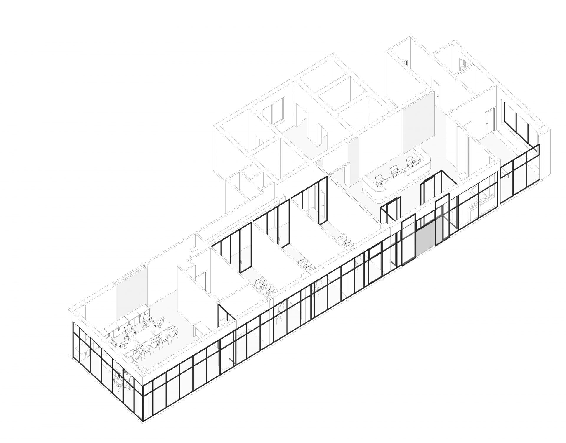 3д модель проекта интерьера банка