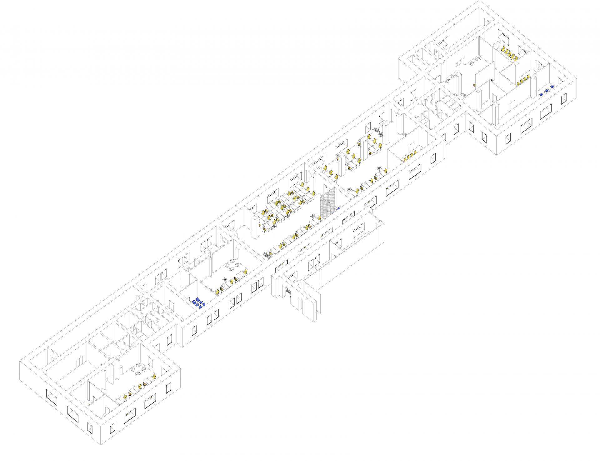 3д модель интерьера офиса Комус
