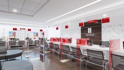 Клиентские офисы компании «Банк Москвы» четырёх разных площадей