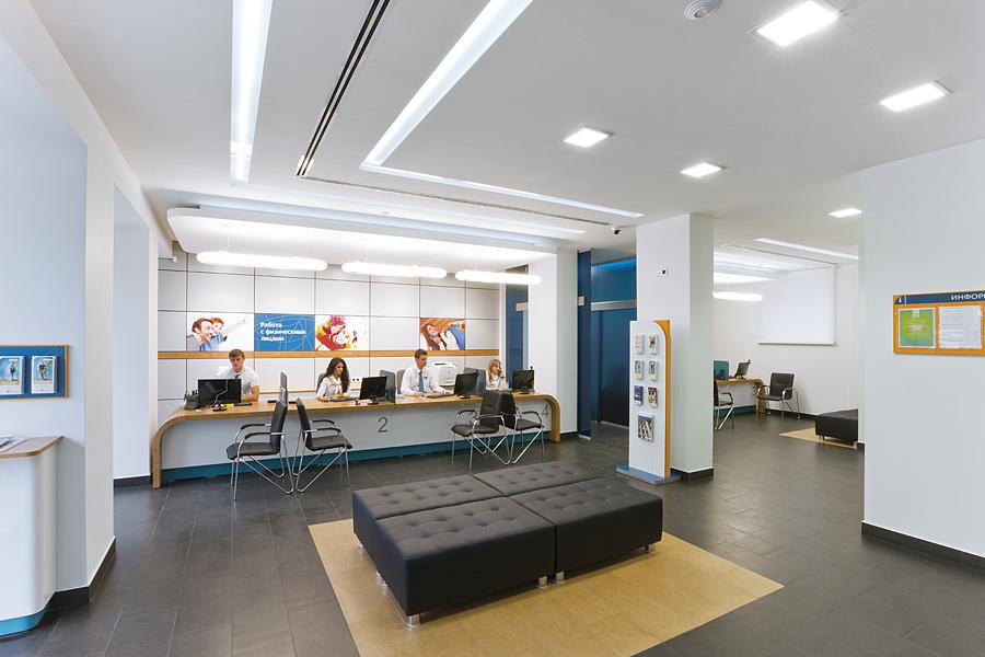Фото интерьера офиса Юниаструм банк. Общий зал