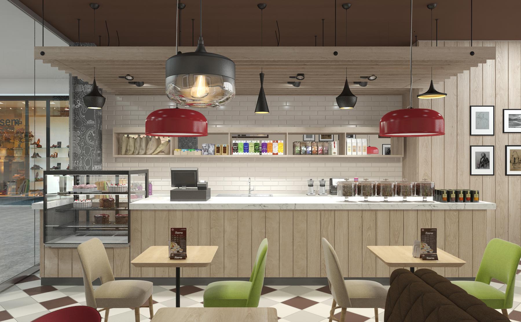 Дизайн интерьера кафе Шоколадница. Визуализация
