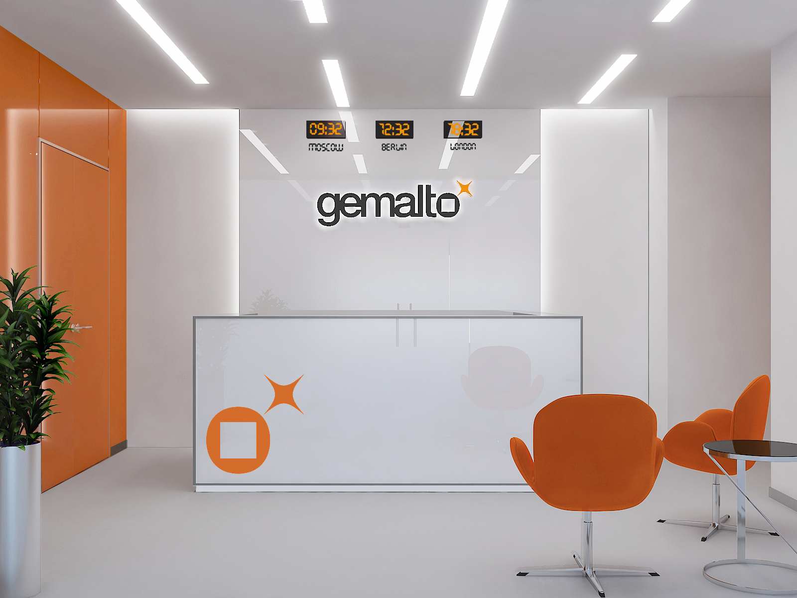 Визуализация проекта офиса Gemalto. Ресепшен