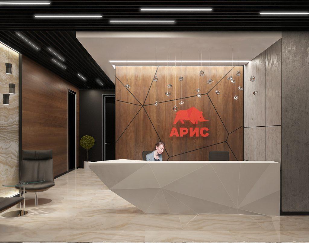 Современный дизайн ресепшена в офисе - Фото