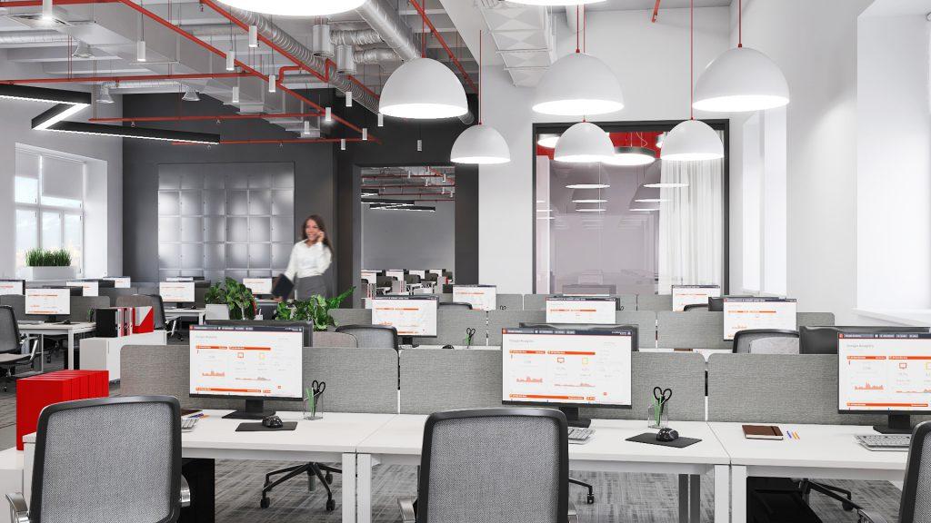 Проект офиса Комус. Визуализация open space