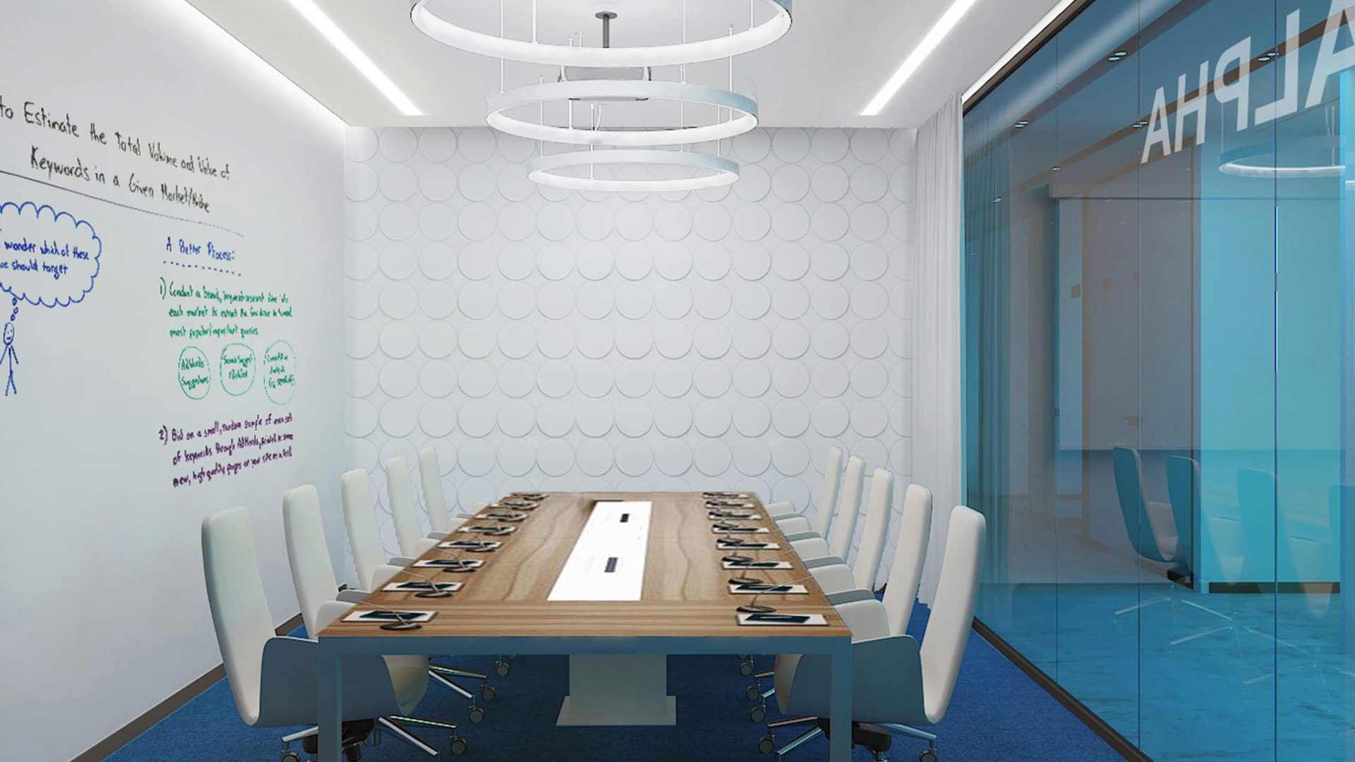 Дизайн переговорной в офисе авиакомпании Победа от бюро Снег