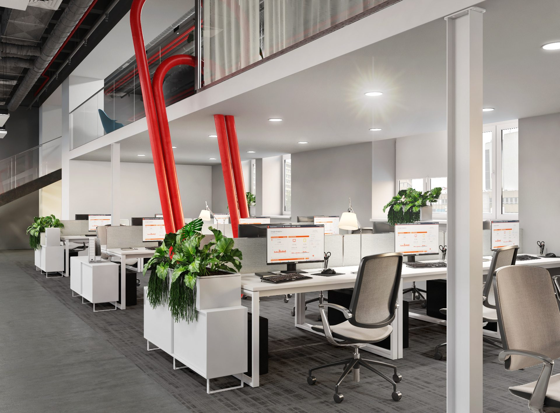 Проект офиса Комус. Визуализация open space 2