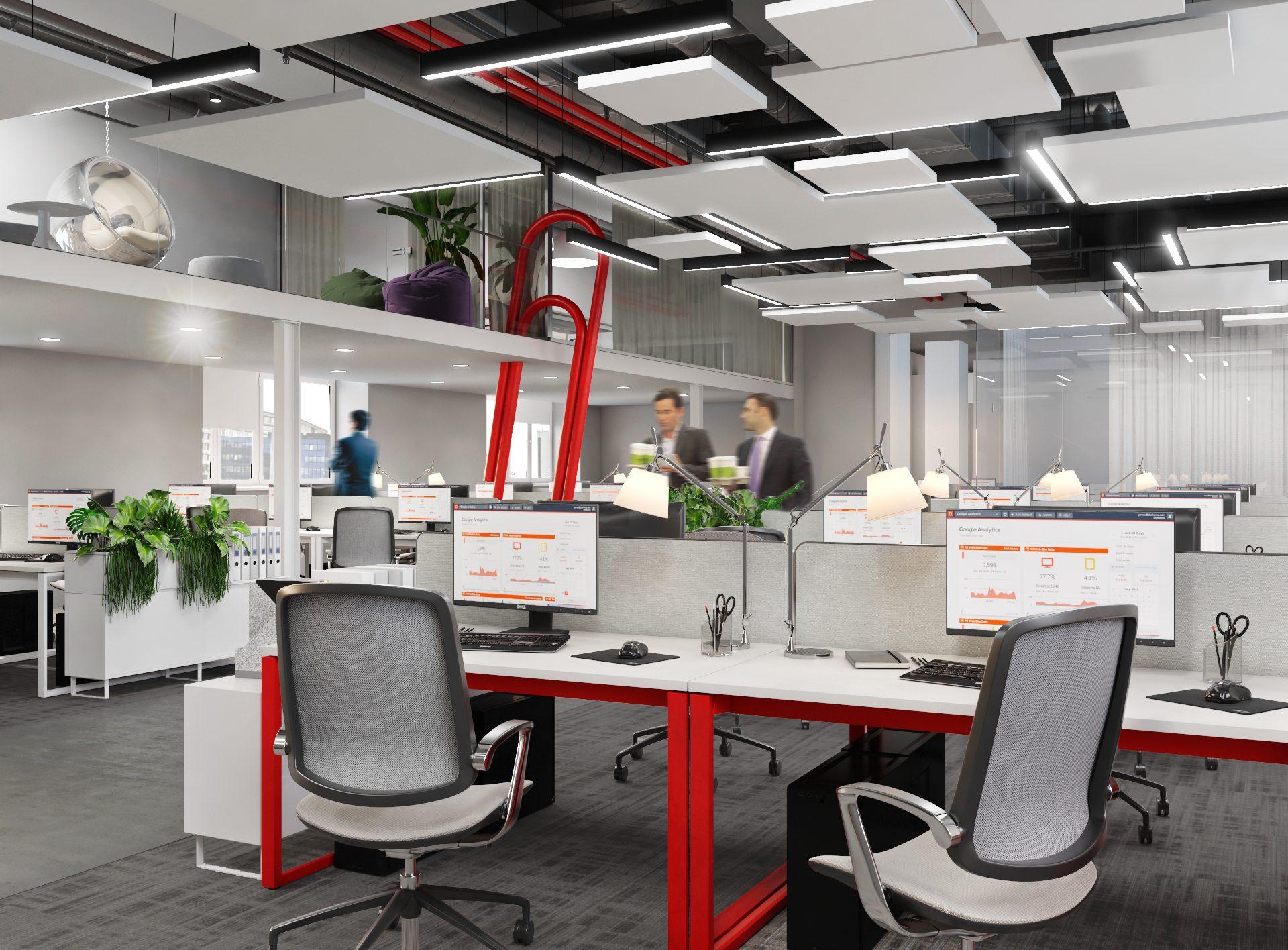 Проект офиса Комус. Визуализация open space 3