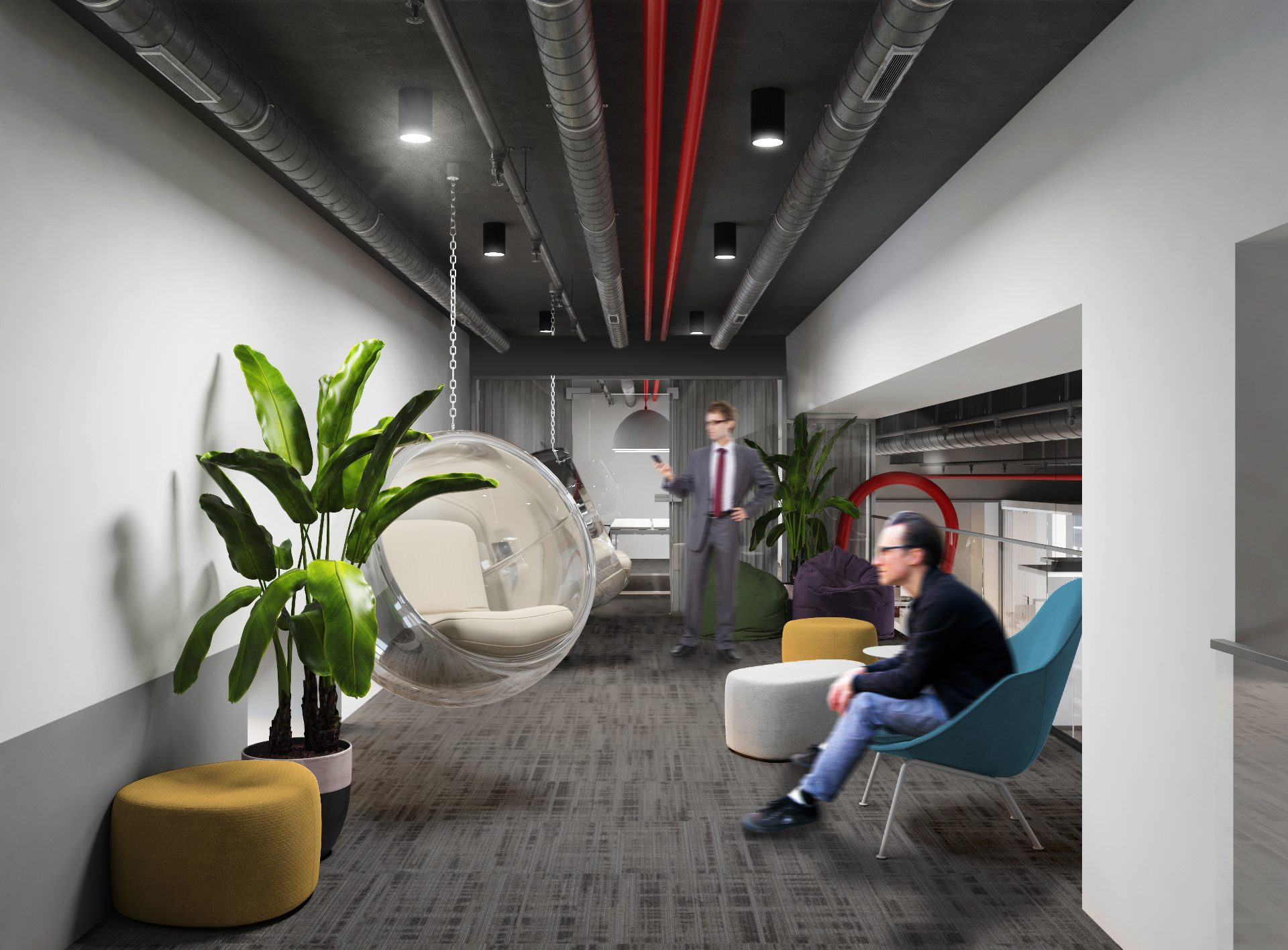 Проект офиса Комус. Визуализация комнаты отдыха