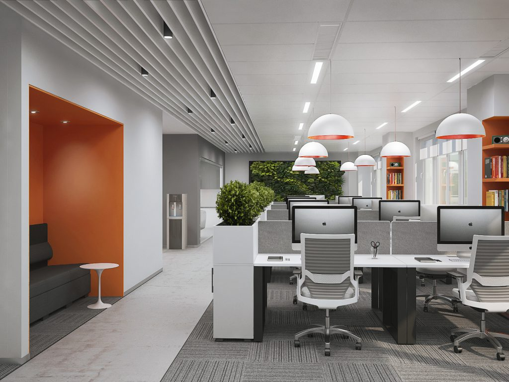 Визуализация проекта офиса Gemalto. Open space