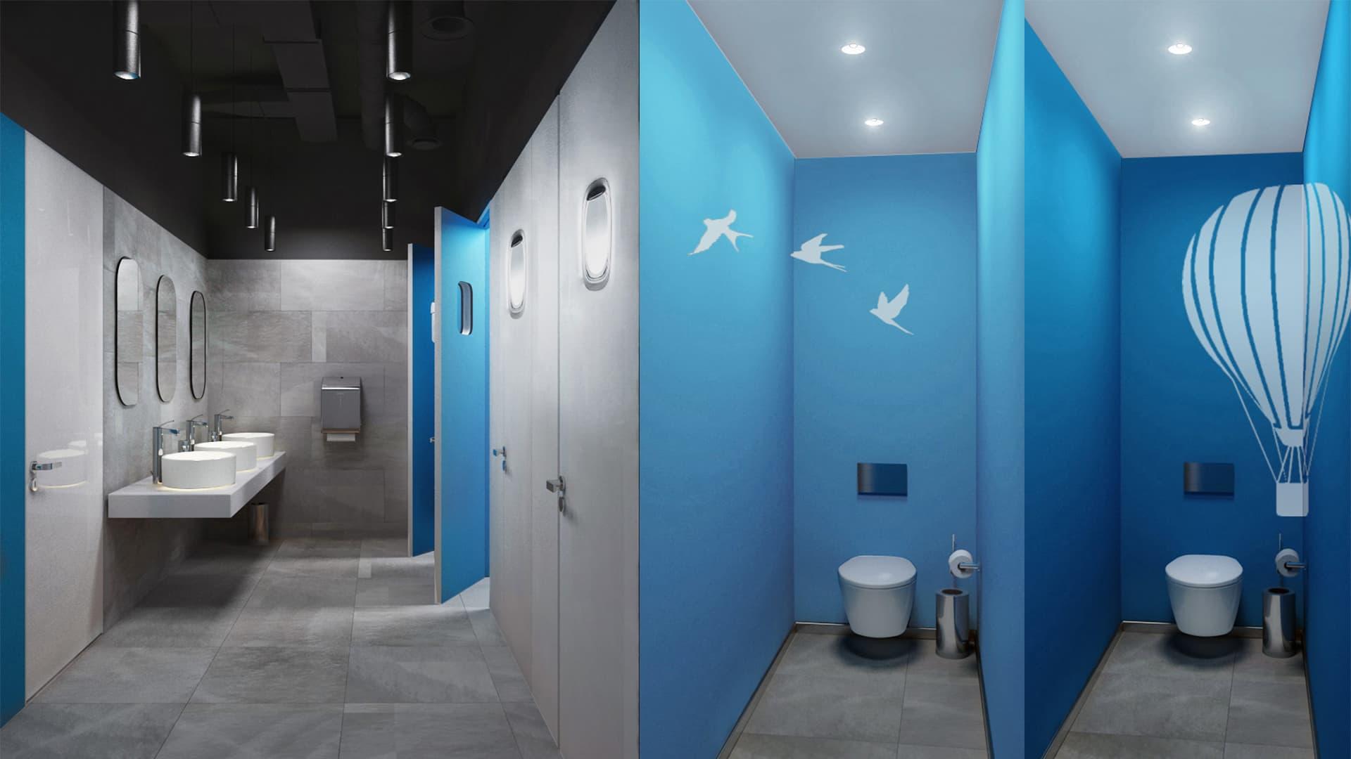 Дизайн санузла в офисе авиакомпании Победа от бюро Снег