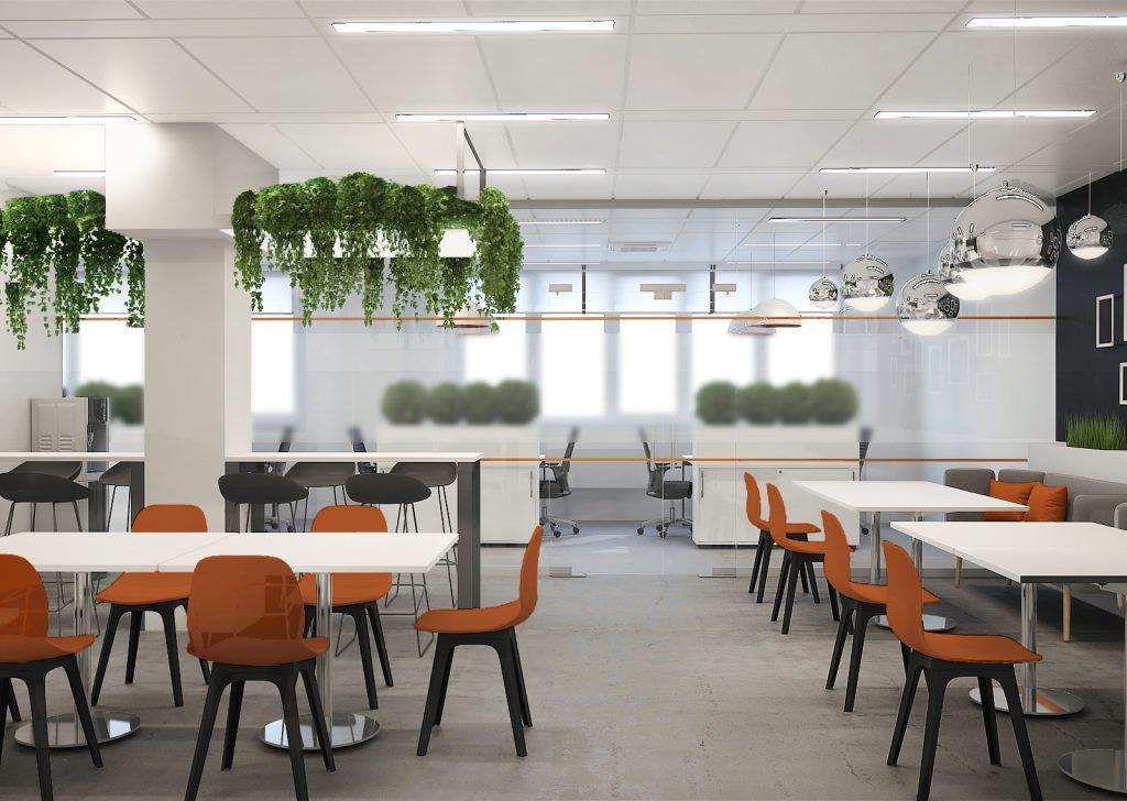 Визуализация проекта офиса Gemalto. Кухня 1