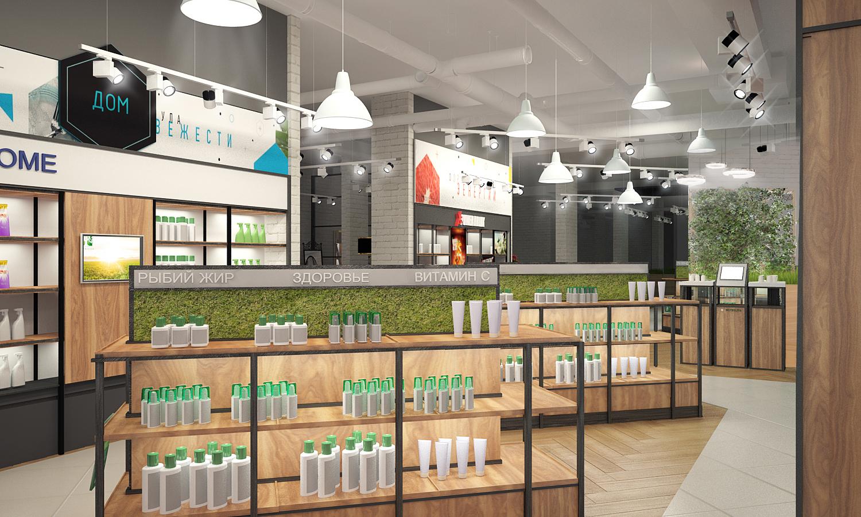 Дизайн проект центра обслуживания Amway. Визуализация торгового зала