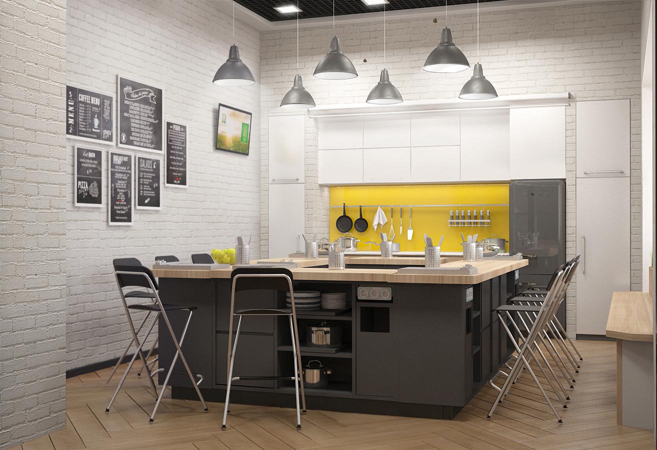 Дизайн проект центра обслуживания Amway. Визуализация кухни