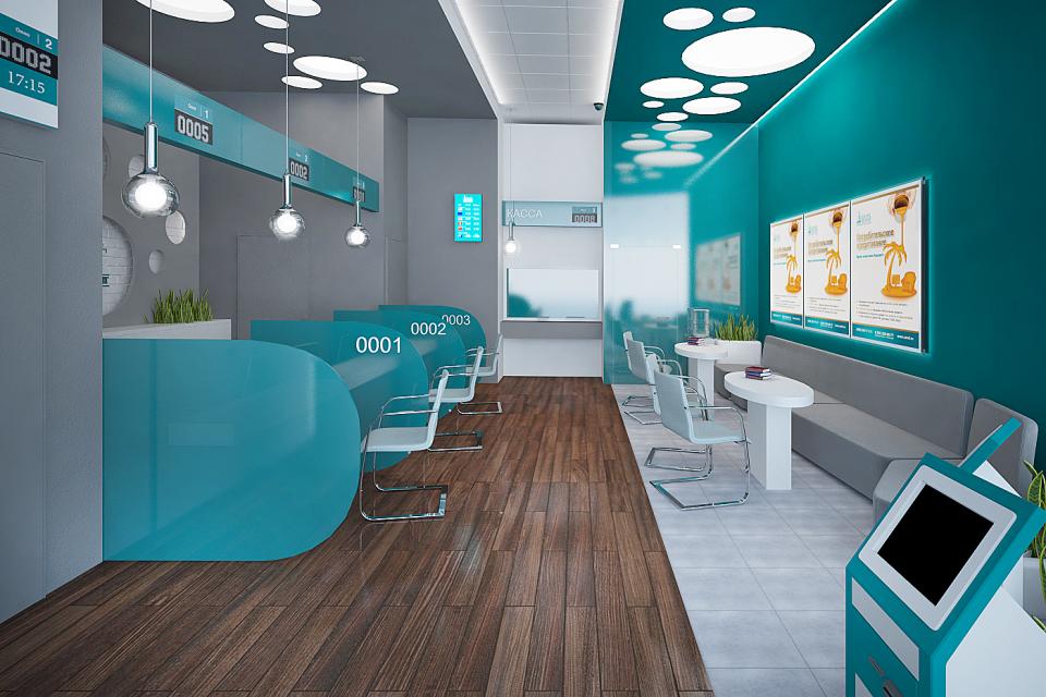 Визуализация интерьера банка Зенит. Общий зал 1